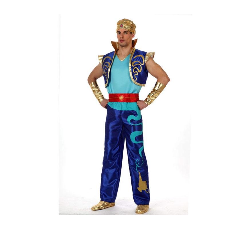 Disfraz de Genio Encantado o de Príncipe Árabe para hombre. Talla M-L 52/54. Incluye disfraz SIN babuchas. Podrás ver algunas babuchas en la sección de Complementos. Ideal para disfrazarse del Genio en la película de Aladín.