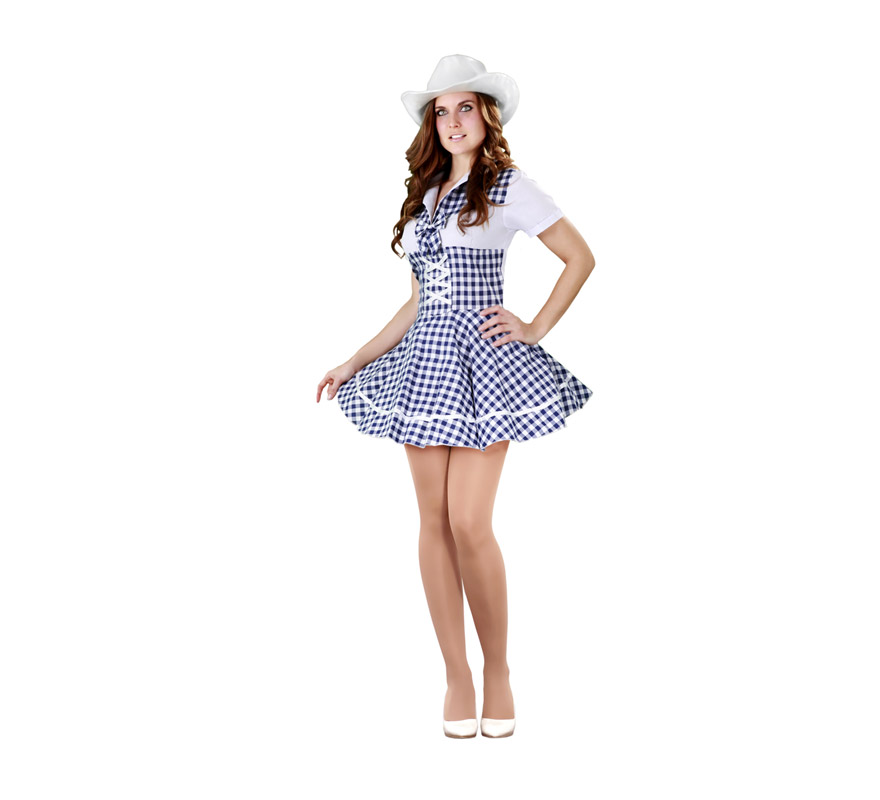 Disfraz barato de Vaquera Sexy para mujer. Talla standar M-L = 38/42. Incluye el vestido. Sombrero NO incluido, lo podrás ver en Complementos.
