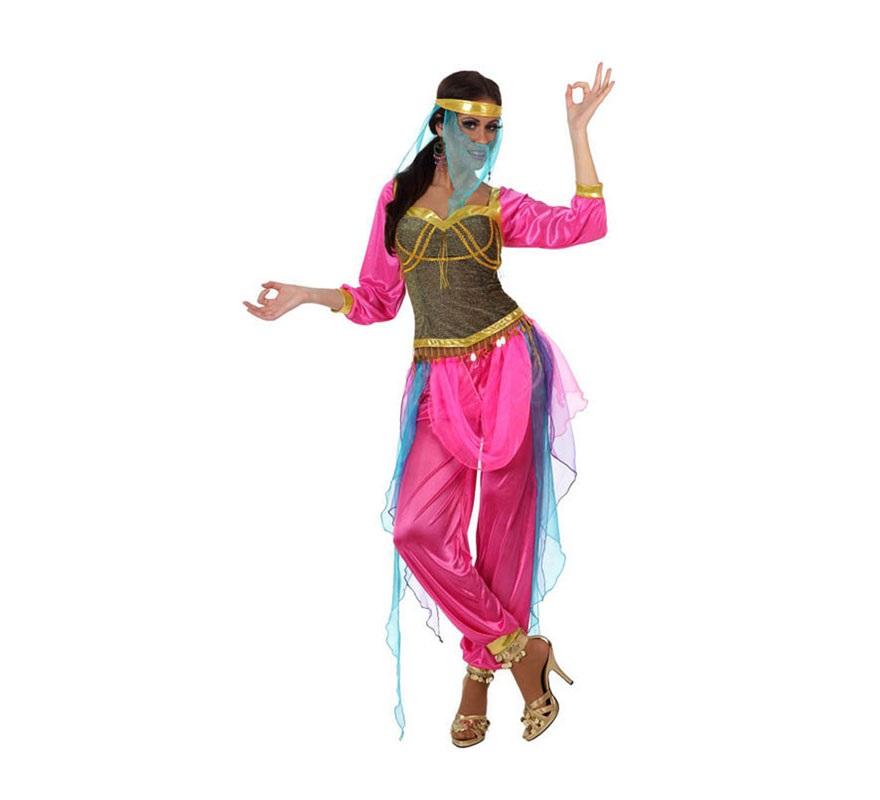 Disfraz de Bailarina Árabe rosa de mujer. Talla 2 ó talla Standar M-L 38/42. Incluye camisa, pantalón y tocado. Con éste traje podrás disfrazarte de Jasmine y ser una auténtica Princesa.