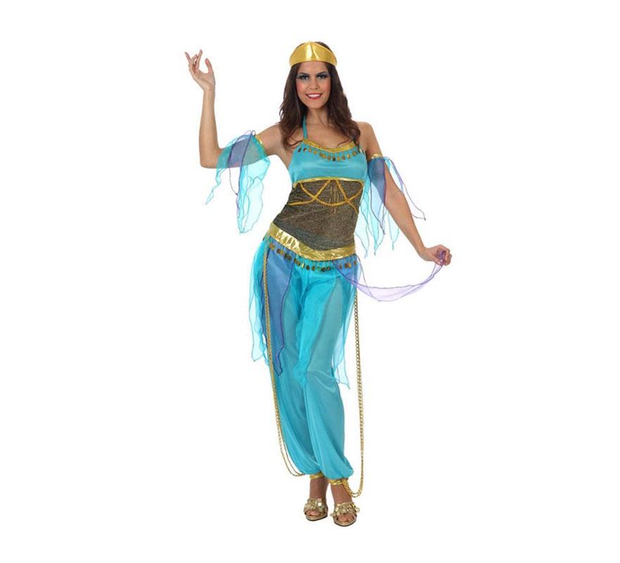 Disfraz Bailarina Árabe azul para mujer. Talla Standar M-L 38/42. Incluye camisa, pantalón y tocado.