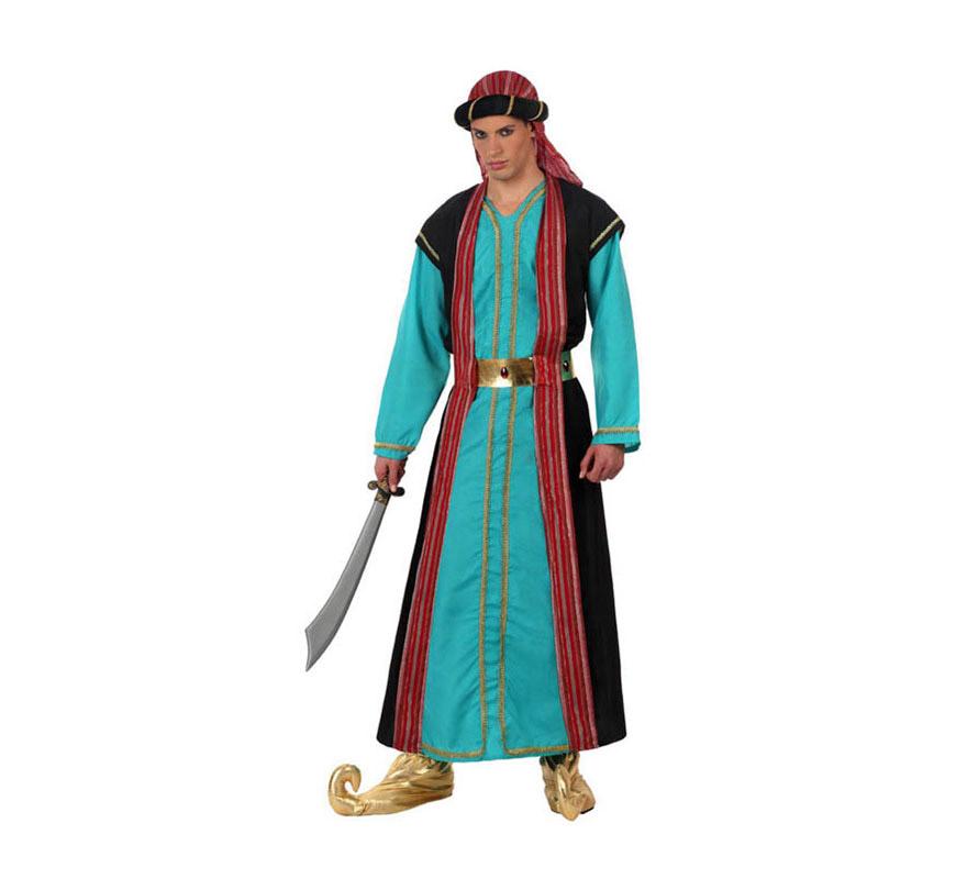 Disfraz de Jeque Árabe azul para hombre. Talla 2 ó talla Standar M-L 52/54. Incluye túnica, cinturón y gorro. Éste disfraz también vale como traje de Paje Real de los Reyes Magos en Navidad.