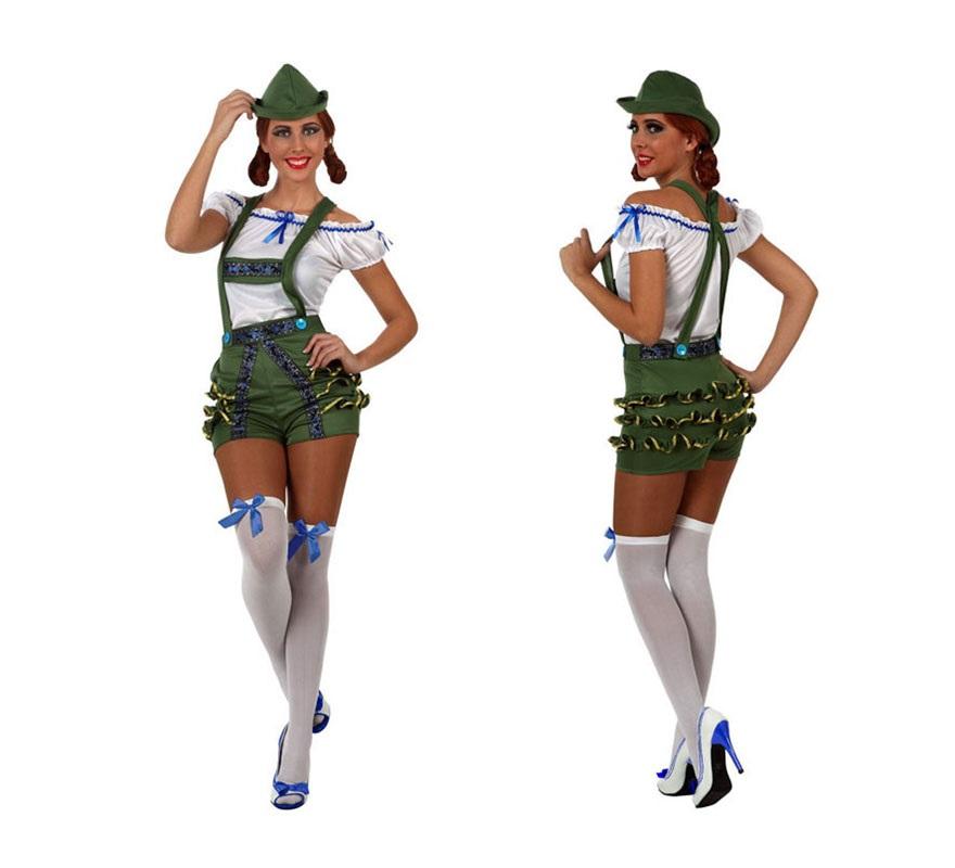 Disfraz de Alemana tradicional y Tirolesa con peto corto para mujer. Talla Standar M-L 38/42. Incluye gorro, peto y camisa. Éste disfraz también puede servir como disfraz de Tirolesa y es ideal para la Fiesta del Oktoberfest y San Patricio.