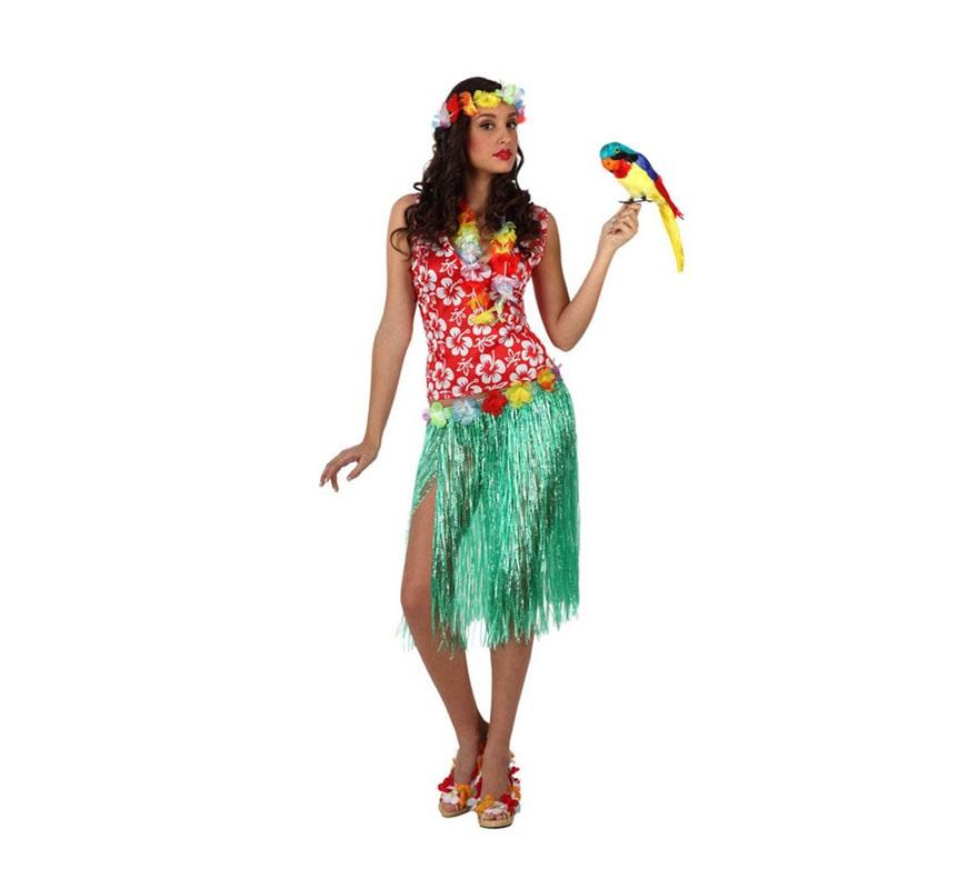 Disfraz de Hawaiana para mujer. Talla 2 ó talla Standar M-L 38/42. Incluye falda, camisa, collar y cinta del pelo. Éste disfraz es perfecto para hacer Fiestas Hawaianas en verano.