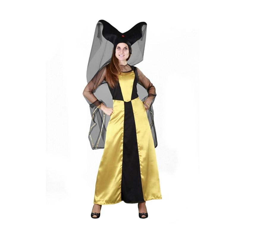 Disfraz barato de Dama de la Corte para mujer. Talla standar M-L = 38/42. Incluye sombrero y vestido. Éste disfraz sí que es diferente, ¡está guapo, verdad?