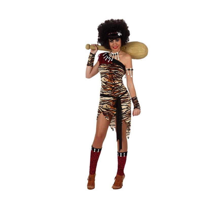 Disfraz de Cavernícola o Troglodita para mujer. Talla 3 ó talla XL 44/48. Incluye vestido, cinturón y cintas de brazos y piernas. Porra, collar y brazaleta de huesos NO incluidos, podrás verlos en la sección de Complementos.