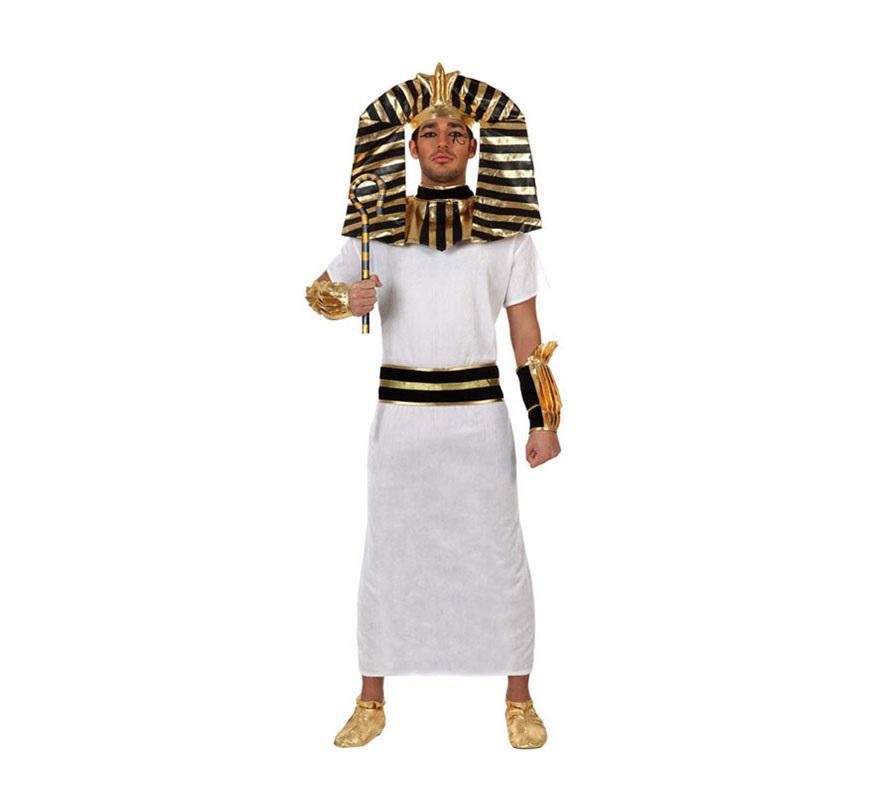 Disfarz de Faraón Egipcio para hombre. Talla XL 54/58. Incluye túnica, cinturón, cuello, manguitos y tocado. Babuchas NO incluidas, podrás verlas en la sección de Complementos.