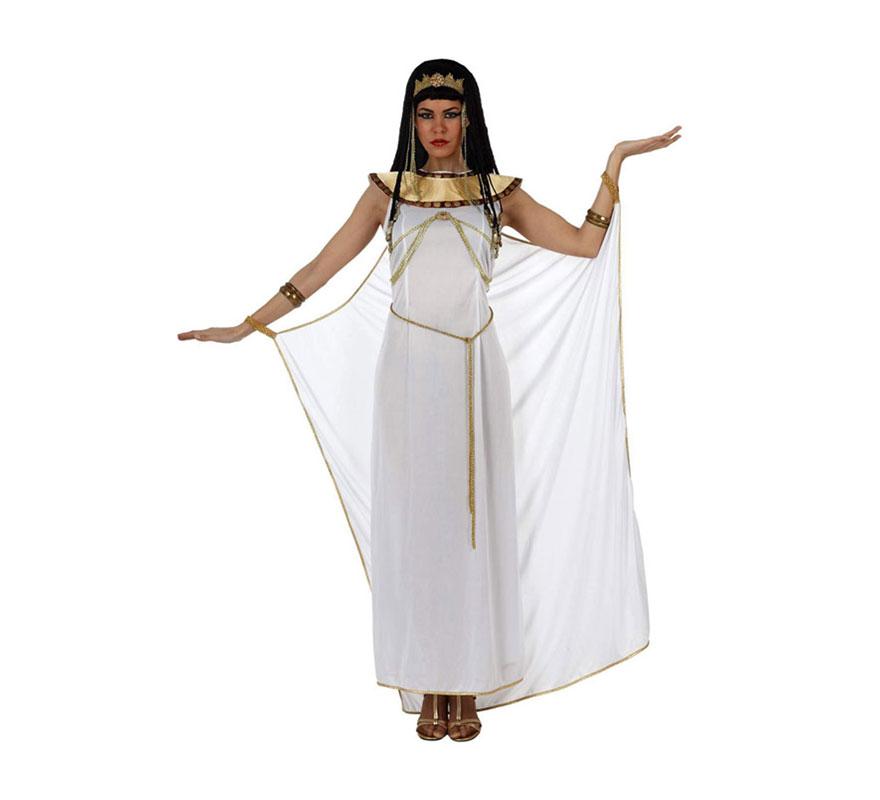 Disfraz de Reina Egipcia blanco de mujer. Talla 2 ó talla Standar M-L 38/42. Incluye túnica, capa, cuello y tocado. Peluca NO incluida, podrás verla en la sección de Complementos.