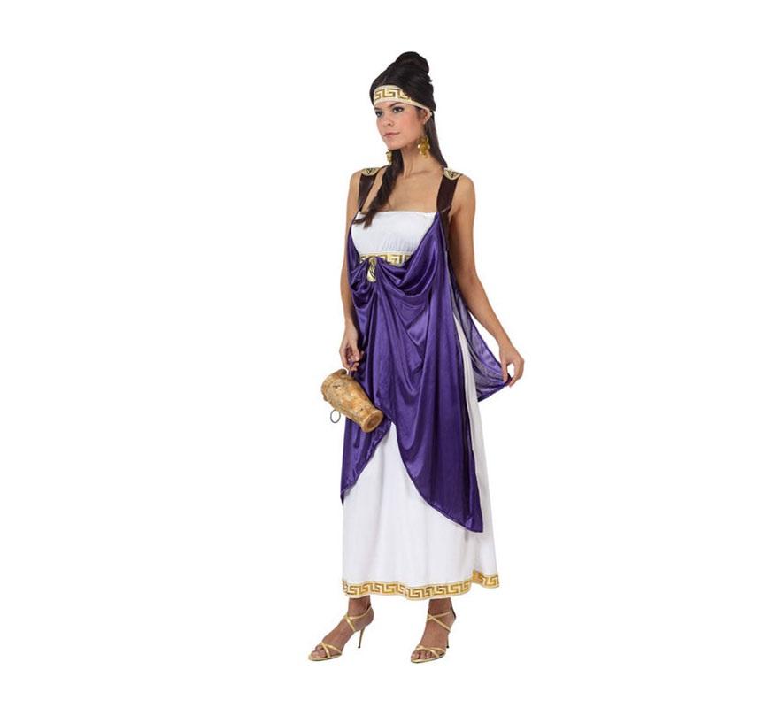 Disfraz de Dama Romana para mujer. Talla 2 ó talla Standar M-L 38/42. Incluye túnica, vestido y tocado de la cabeza.