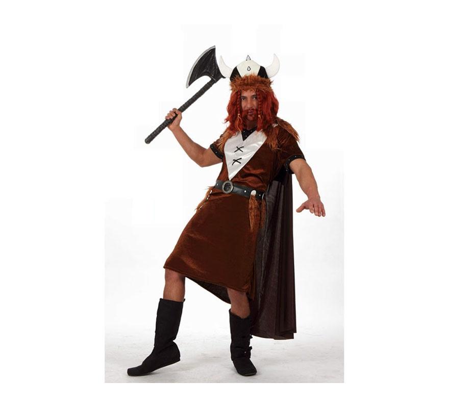 Disfraz de Vikingo para hombres. Talla XL 54/58. Incluye vestido, casco y capa. Accesorios como peluca y barba, hacha y botas NO incluidos, podrás ver algunos de ellos en la sección de Complementos.