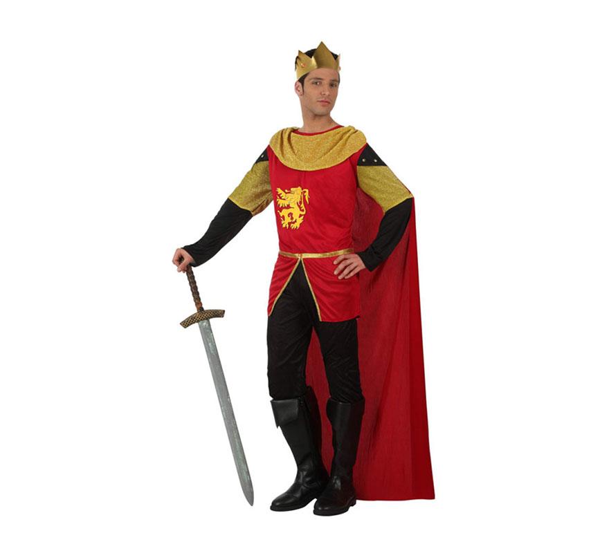 Disfraz de Rey Medieval para hombres. Talla 2 ó talla Standar M-L 52/54. Incluye casaca, pantalón, capa y corona. Espada NO incluida, podrás verla en la sección de Complementos.