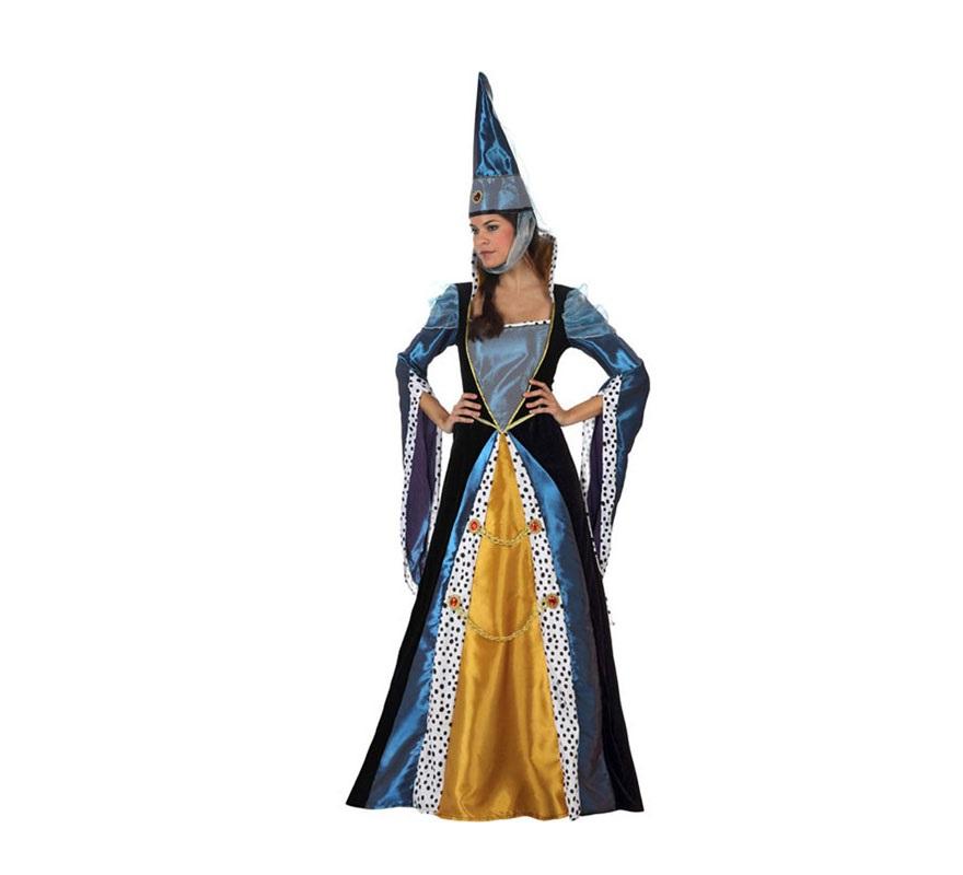 Disfraz de Dama Medieval para mujer. Talla 2 ó talla Standar M-L 38/42. Incluye vestido y gorro.