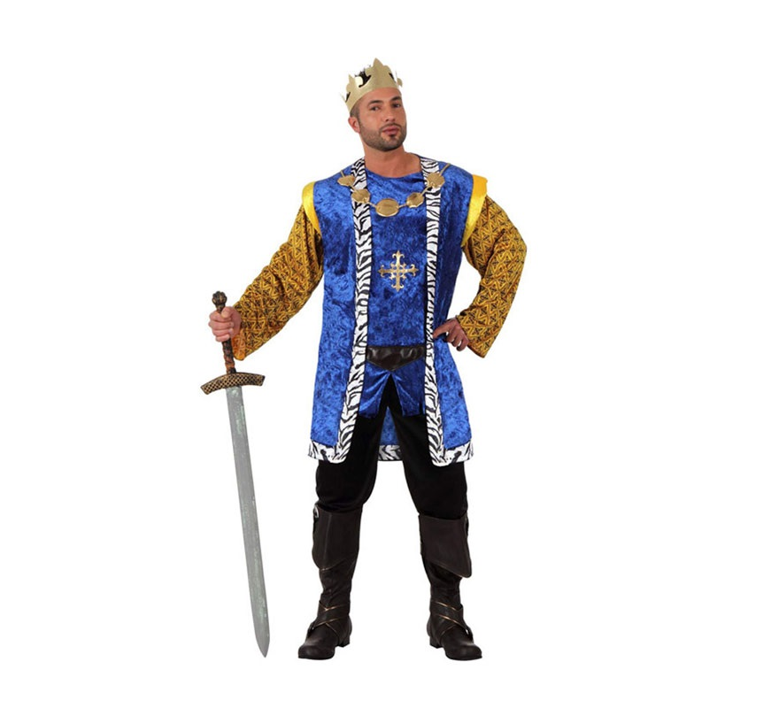 Disfraz de Rey Medieval para hombre. Talla 2 ó talla Standar M-L 52/54. Incluye disfraz SIN botas y SIN espada. Podrás ver espadas en la sección de Complementos.
