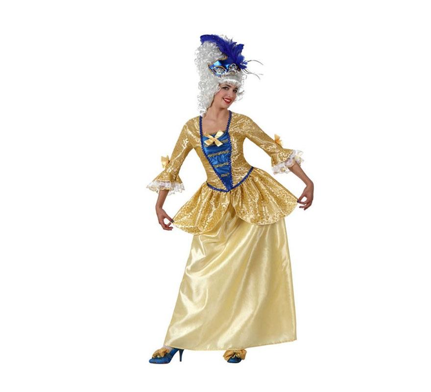 Disfraz de Cortesana Época lujo para mujer. Talla 2 ó talla Standar M-L 38/42. Incluye camisa y falda. Peluca NO incluida, podrás encontrar pelucas en la sección de Complementos.