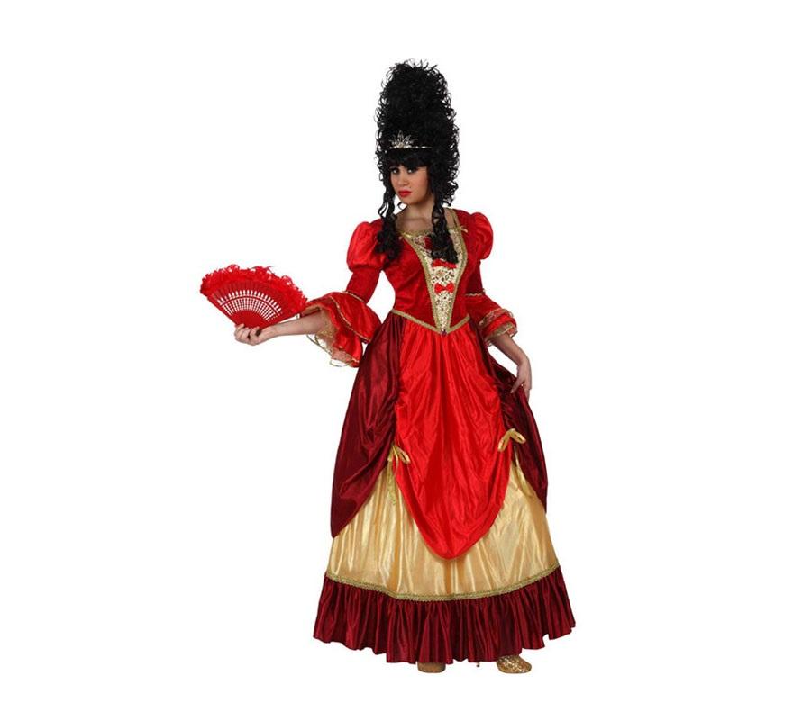 Disfraz de Cortesana de Época para mujer. Talla Standar M-L 38/42. Incluye vestido. Peluca y Abanico NO incluidos, podrás verlos en la sección de Complementos.