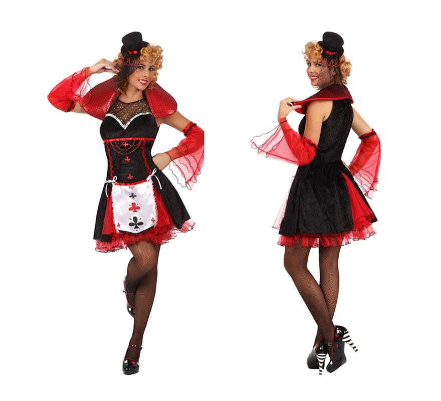 Disfraz de Dama de Tréboles sexy para mujer. Talla 2 ó talla Standar M-L 38/42. Incluye vestido, sombrero y cubrebrazos. Un disfraz muy original y divertido. Están los 4 palos de la baraja.