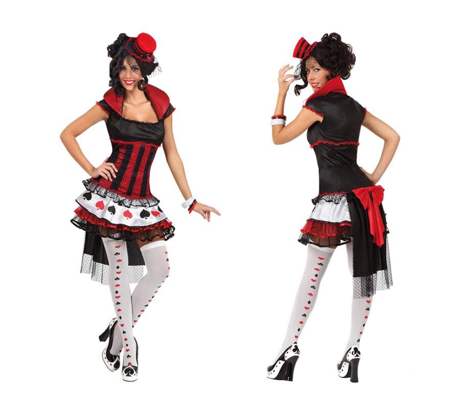 Disfraz de Dama de Picas sexy para mujer. Talla 2 ó talla Standar M-L 38/42. Incluye vestido y tocado de la cabeza. Un disfraz muy original y divertido. Están los 4 palos de la baraja.
