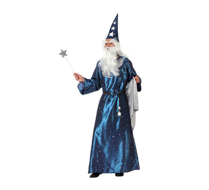 Disfraz de Mago para hombre. Talla 2 ó talla Standar M-L 52/54. Incluye túnica. capa. cuerda para la cintura y gorro. También podría servir como disfraz de Brujo para Halloween.