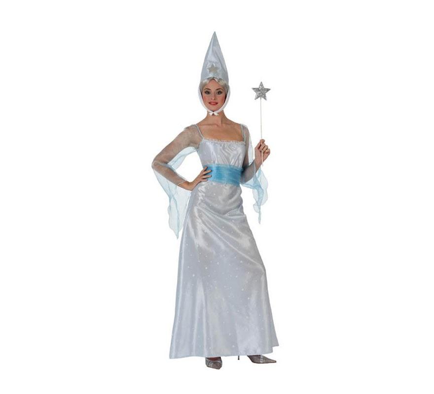 Disfraz de Hada Madrina para mujer. Talla Standar M-L 38/42. Incluye vestido, cinturón y gorro. Varita NO incluida, podrás verla en la sección de Complementos.