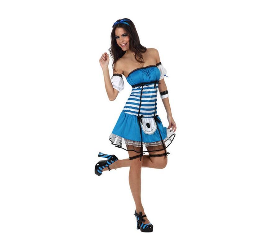 Disfraz de Alicia en el País de las Maravillas Sexy para mujer. Talla 2 ó talla standar M-L 38/42. Incluye vestido, ligas, manguitos y cinta de la cabeza. Éste disfraz puede servir como Disfraz de Dorothy la protagonista del Mago de Oz.