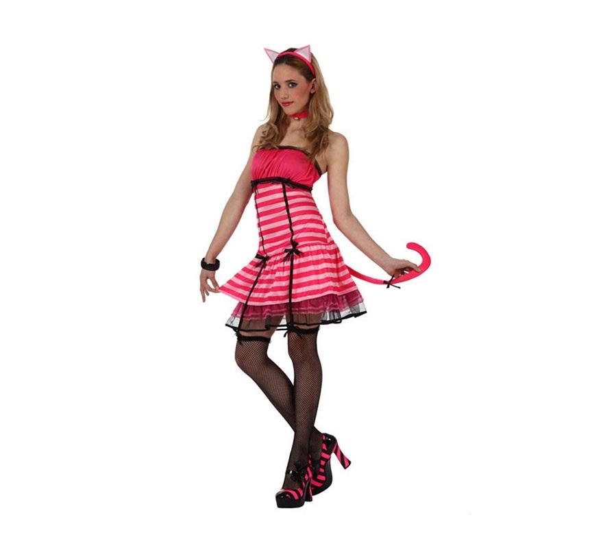 Disfraz de Gatita Sexy para mujer. Talla 2 ó talla M-L = 38/42. Incluye vestido con cola, collar, diadema con orejitas y ligueros. Éste disfraz de Gata es muy bonito y sexy para las mujeres. Ideal para Despedidas de Soltera.