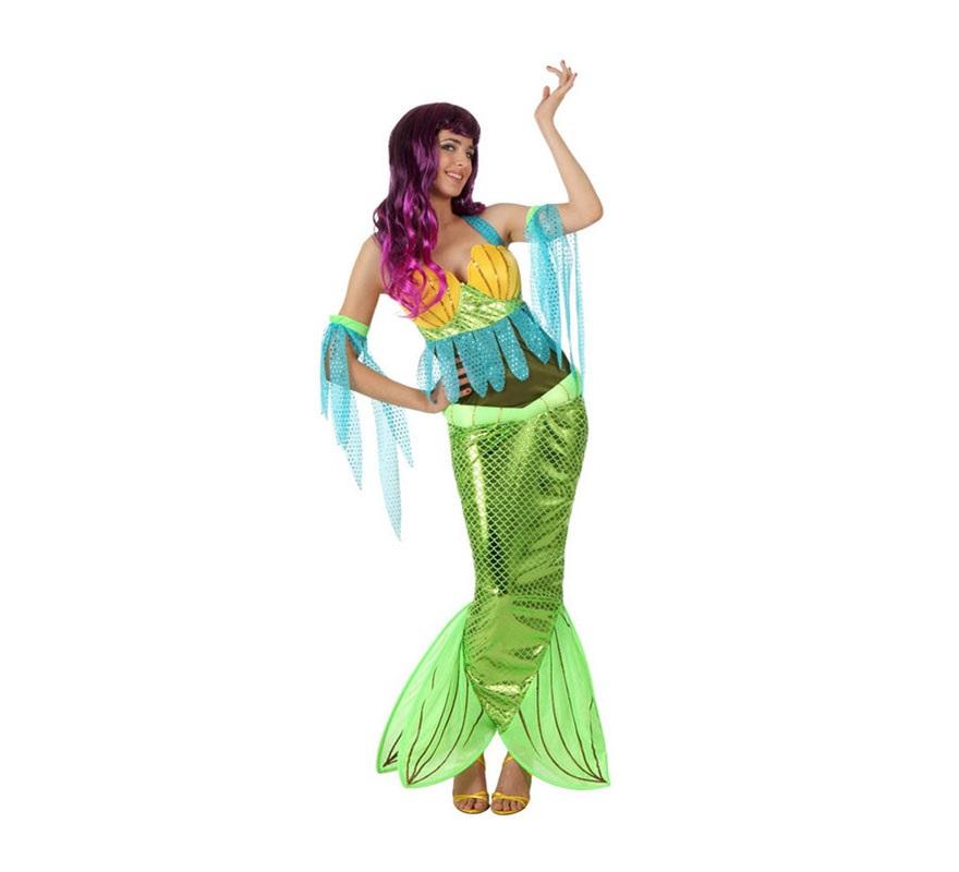 Disfraz de Sirena para mujer. Talla Standar M-L 38/42. Incluye vestido y mangas. Peluca NO incluida, podrás verla en la sección de Complementos. Éste disfraz es ideal para imitar a la Sirenita en cualquier fiesta de Disfraces.