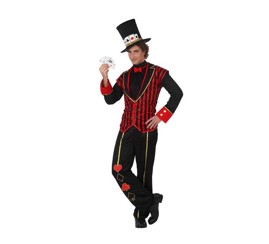 Disfraz de Croupier para hombre. Talla XL 54/58. Incluye camisa, pantalón y sombrero. Disfraz super original de Caballero baraja de Póker, Crupier o Croupier para hombre.