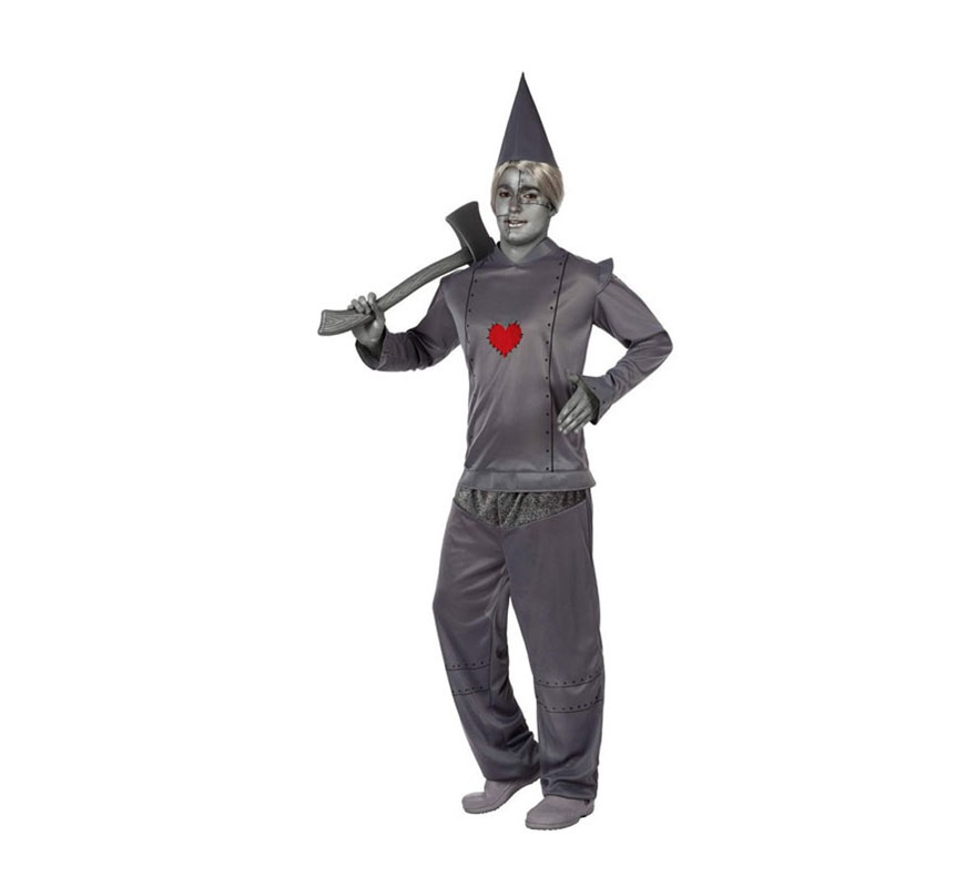 Disfraz Hombre de Hojalata con corazón. Talla 2 ó talla Standar M-L 52/54. Incluye pantalón, camisa y gorro. Original disfraz para convertirte en el fantástico personaje del Mago de Oz y vivir múltiples aventuras junto a Dorothy.