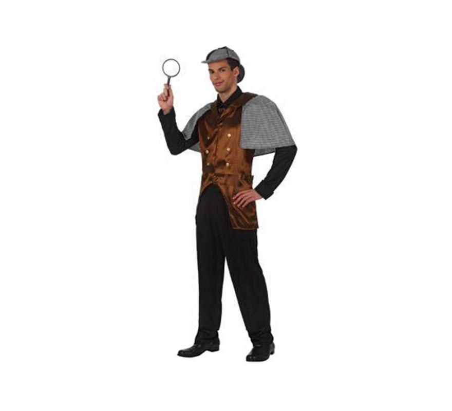 Disfraz de Sherlock Holmes para hombres. Talla Standar M-L 52/54. Incluye disfraz completo sin lupa, la cual podrás ver en la sección de Complementos.