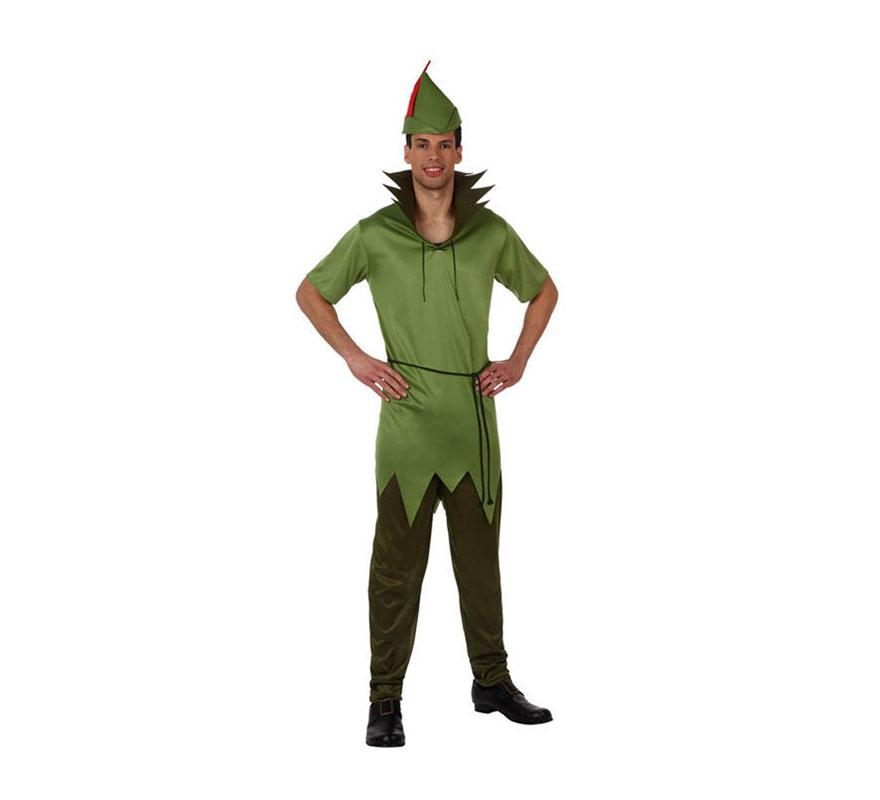 Disfraz de Robin Ladrón de los Bosques o Peter Pan para hombre. Talla 2 ó talla Standar M-L 52/54. Incluye pantalón,camisa y gorro. Éste disfraz puede servir tanto para Robin Hood el Príncipe de los Ladrones, como para disfrazarse de Peter Pan.