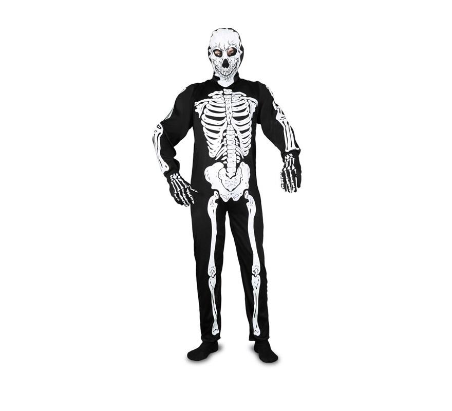 Disfraz de Esqueleto adulto para hombre. Talla Standar M-L = 52/54. Disfraz barato de Halloween que incluye capucha, mono y guantes.