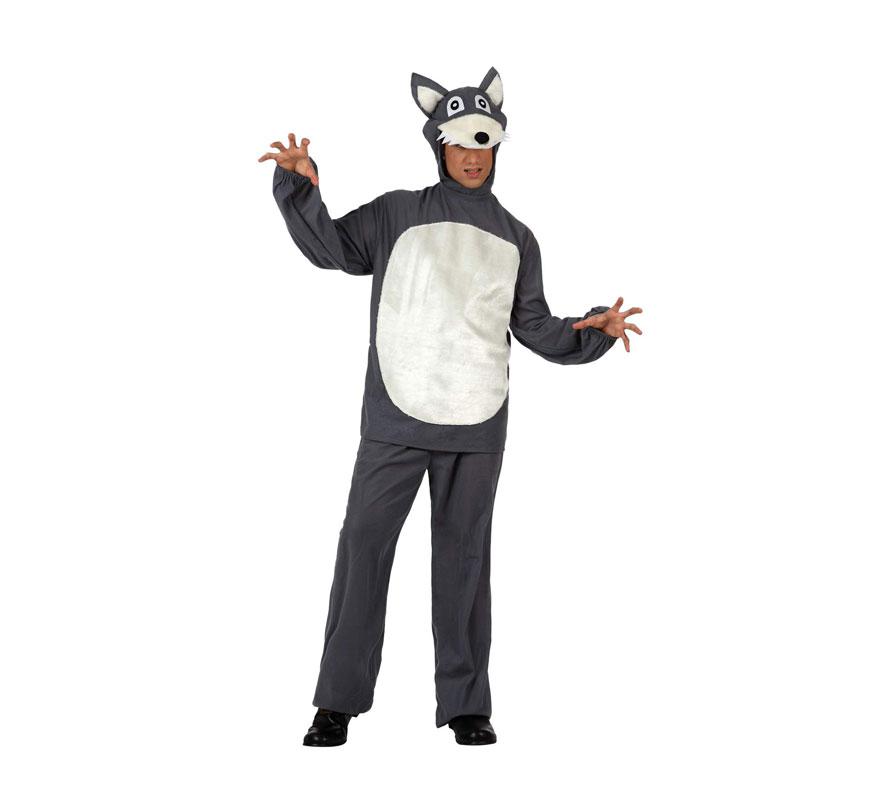 Disfraz de Lobo para hombre. Talla M-L 52/54. Incluye pantalón, camisa y gorro. Con éste disfraz seguro que intentarás comerte a Caperucita si la ves por ahí.
