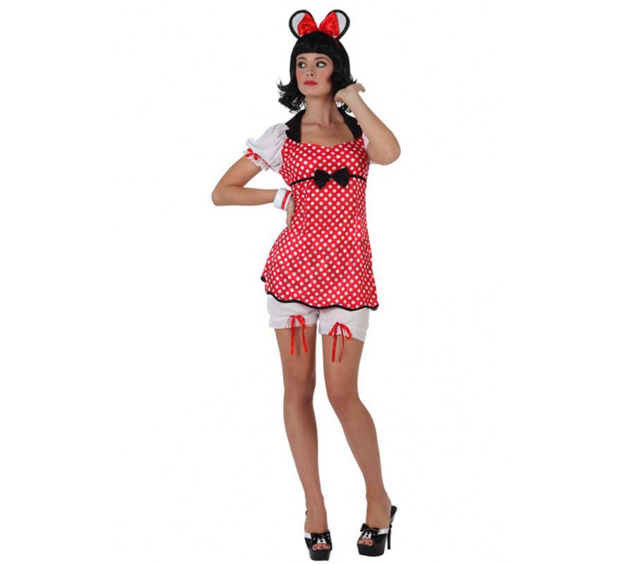 Disfraz de Ratoncita o Ratita con lunares para mujer. Talla 3 ó talla XL 44/48. Incluye vestido, pololos y orejas. Con éste disfraz serás la Minnie más Sexy.