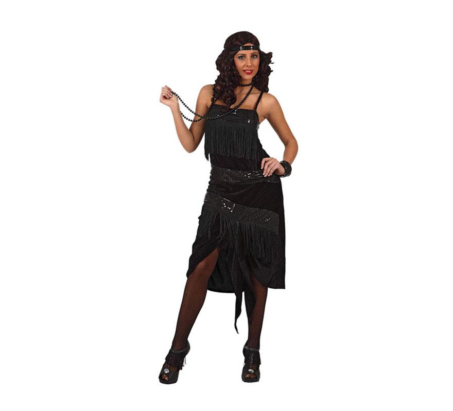 Disfraz de Chica de Charlestón negro para mujer. Talla Standar M-L 38/42. Incluye vestido y cinta del pelo.