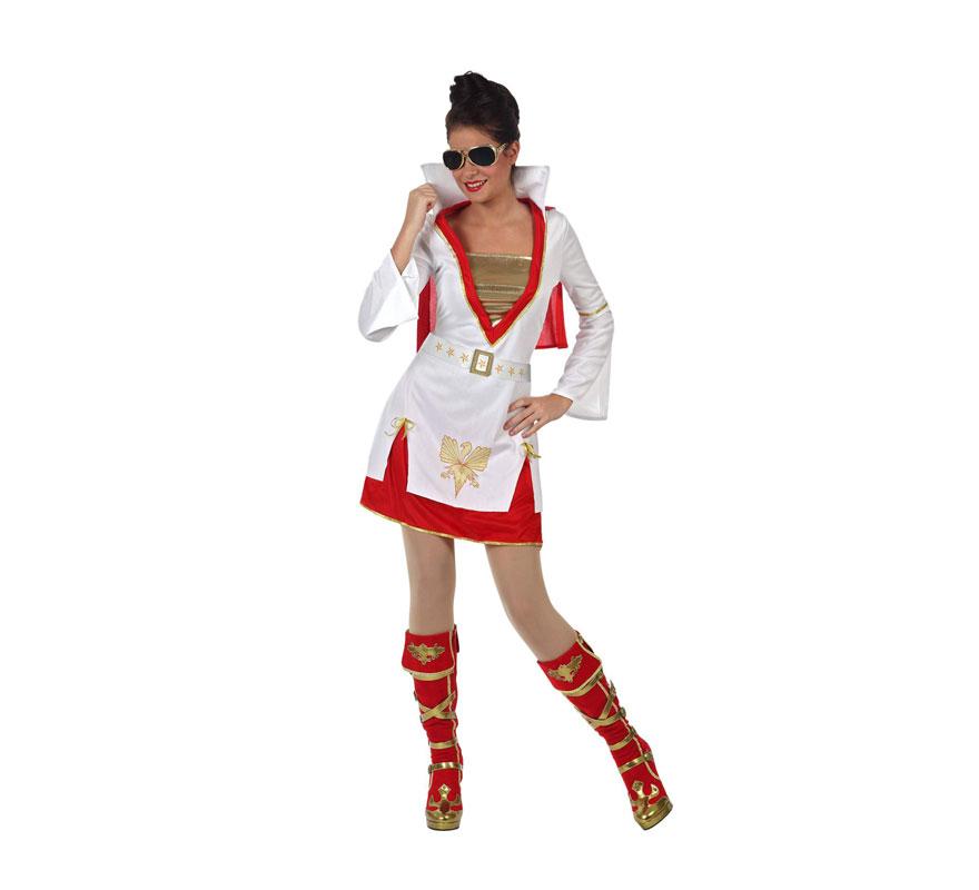 Disfraz Estrella del Rock para mujer. Talla Standar M-L 3842. Incluye vestido con capa. Botas y gafas NO incluidas, las gafas podrás verlas en la sección de Complementos. Este disfraz de chica Elvis es ideal para Despedidas de Soltera.