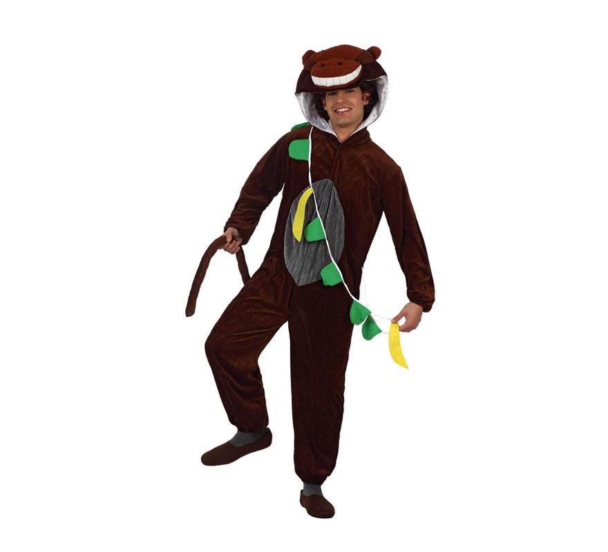 Disfraz de Mono con plátanos marrón para adultos. Talla universal adultos. Incluye disfraz completo tal como muestra la imagen.