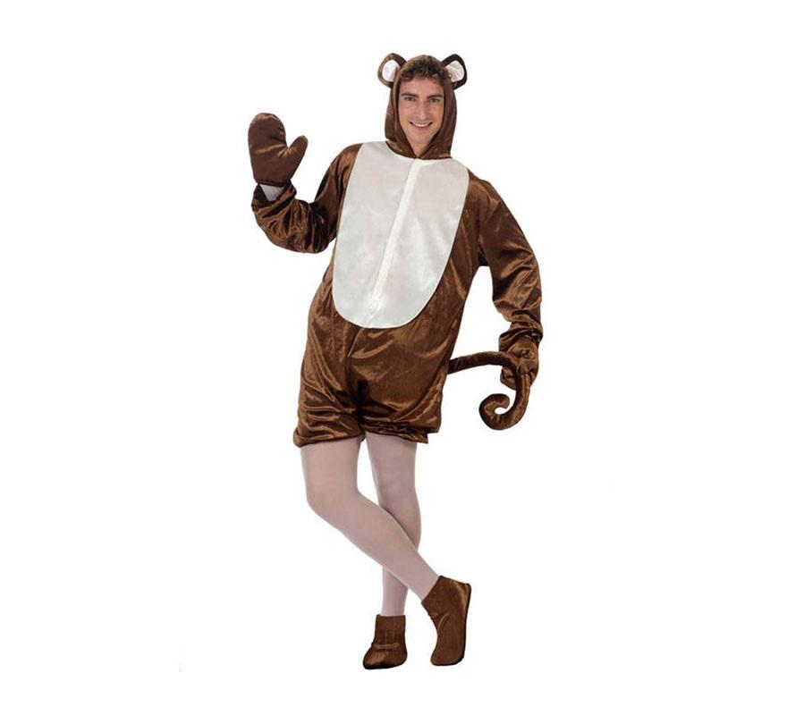 Disfraz de Mono divertido para adultos. Talla Standar M-L 52/54. Incluye mono con capucha y rabo y manoplas.