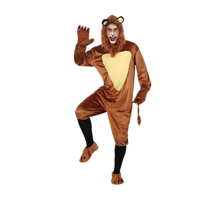Disfraz de León para hombre. Talla 2 ó talla Standar M-L 52/54. Incluye mono, capucha, cubrepies y guantes. Original disfraz para convertirte en el fantástico personaje del Mago de Oz y vivir múltiples aventuras junto a Dorothy.