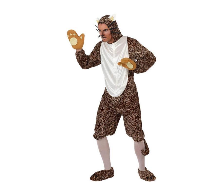 Disfraz de Leopardo para hombre. Talla 2 ó tall Standar M-L 52/54. Incluye guantes, mono con cabeza y cubrepies. Éste disfraz también valdría para chicas, aunque se lo tendrían que arreglar un poco.