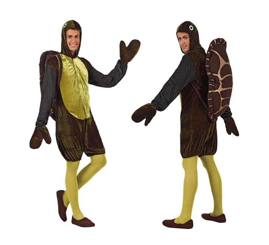 Disfraz de Tortuga para hombre. Talla Standar M-L 52/54. Incluye traje con capucha, caparazon  y manoplas. Medias NO incluidas.