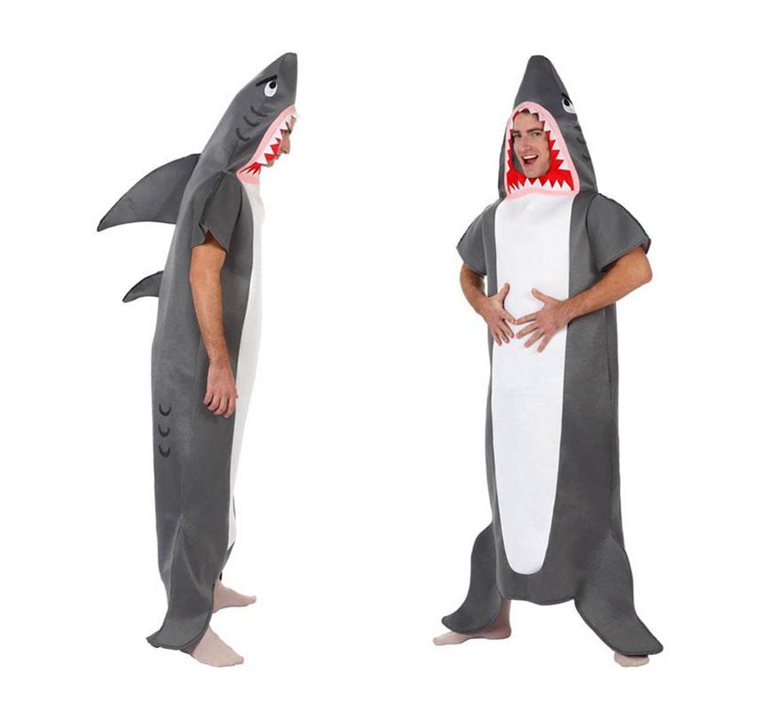 Disfraz de Tiburón para hombre. Talla 2 ó talla Standar M-L 52/54. Incluye disfraz completo.
