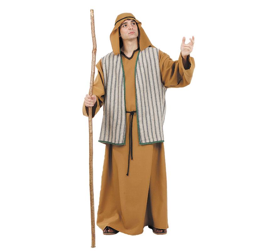 Disfraz o Traje de Moisés adulto. Talla 52 Universal de adultos. Incluye túnica, chaleco, pañuelo y cordón. Perfecto también para Cabalgatas de Reyes en Navidad. Fabricado en España.