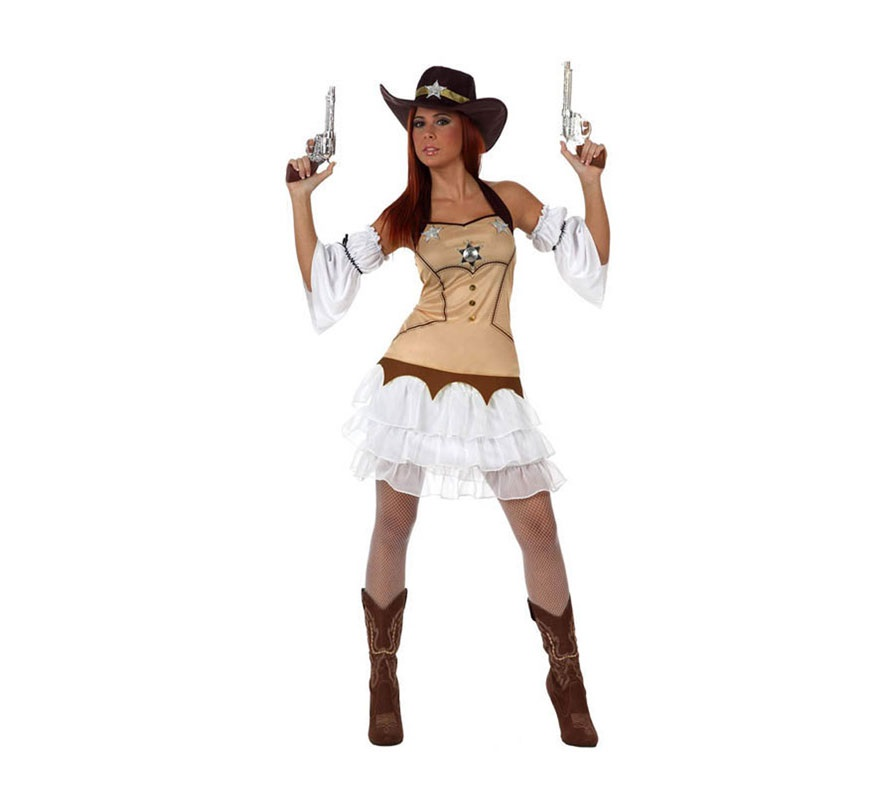Disfraz de Chica Sheriff para mujer. Talla 3 ó talla XL 44/48. Incluye falda, camisa, manguitos y sombrero. Resto de accesorios NO incluidos, las pistolas por ejemplo, las podrás ver en la sección de Complementos.