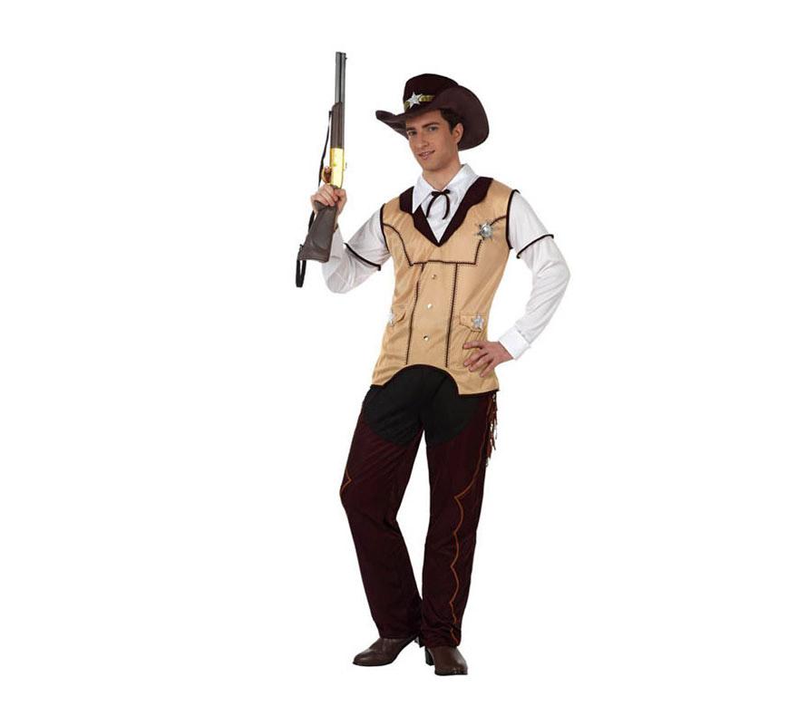 Disfraz de Sheriff para hombre. Talla 2 ó talla Standar M-L 52/54. Incluye pantalón, camisa con chaleco y gorro. Rifle NO incluido, podrás verlo en la sección de Complementos - Armas.