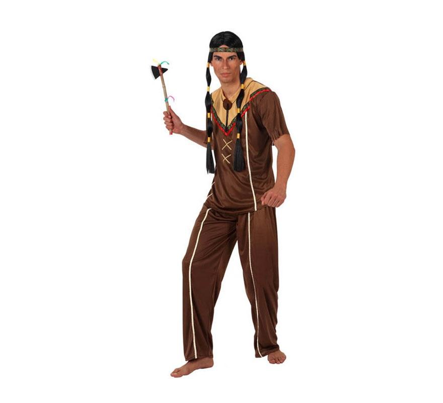 Disfraz de Indio para hombre. Talla 2 ó talla Standar M-L 52/54. Incluye camisa, pantalón y cinta. Peluca y hacha NO incluidas, podrás verlas en la sección de Complementos.