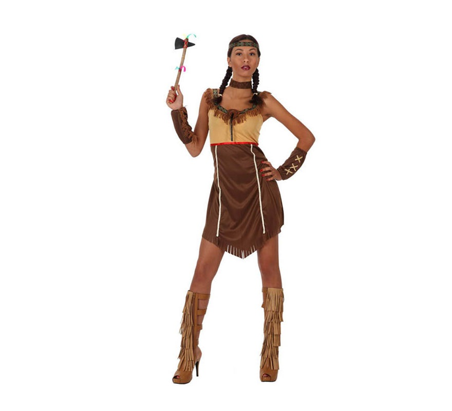 Disfraz de India para mujer. Talla 3 ó talla XL 44/48. Incluye vestido, manguitos, collar y cinta de la cabeza.