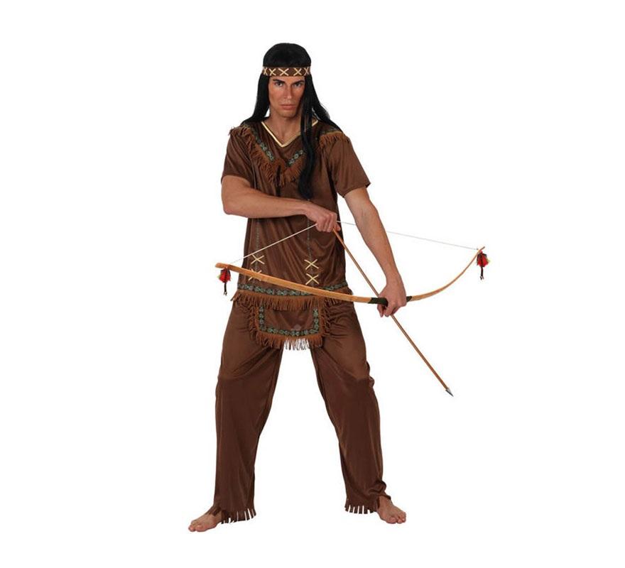 Disfraz de Indio marrón para hombres. Talla Standar M-L 52/54. Incluye pantalón, camisa y cinta de la cabeza.