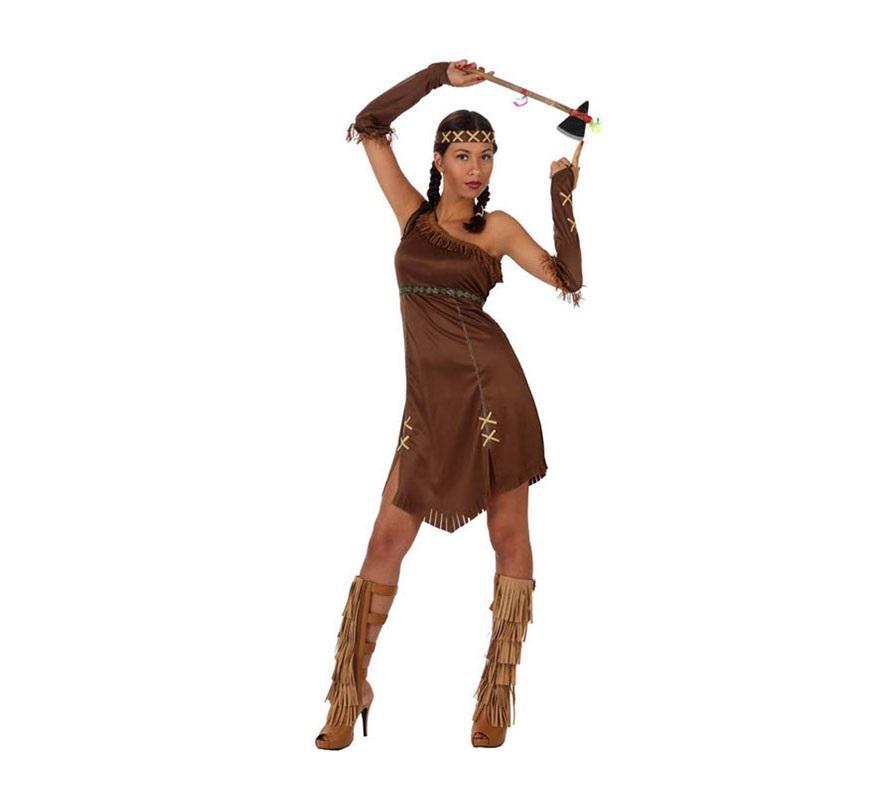 Disfraz de India marrón para mujeres. Talla S 34/38 para chicas delgadas o adolescentes. Incluye vestido, manguitos y cinta del pelo. El Hacha la podrás ver en la sección de Complementos.