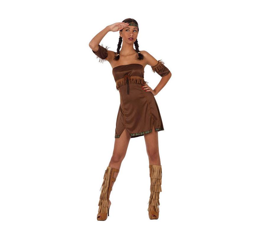 Disfraz barato de India Sexy para mujer. Talla 2 ó talla Standar M-L 38/42. Incluye vestido, brazaletes y cintas. Botas NO incluidas.