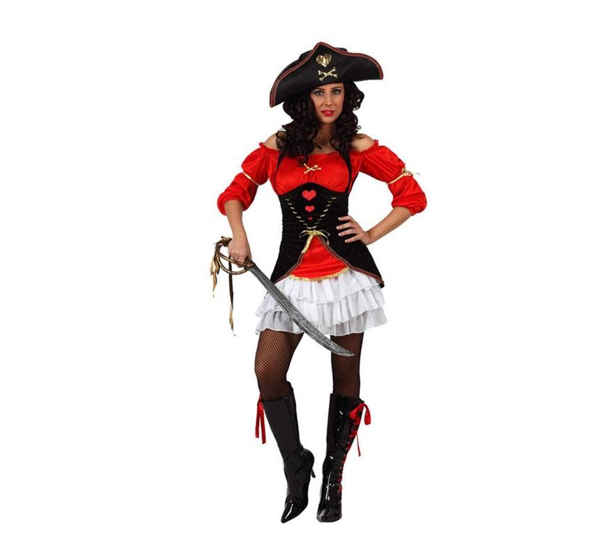 Disfraz de Capitana Pirata para mujer. Talla Standar M-L 38/42. Incluye sombrero, falda y camisa.
