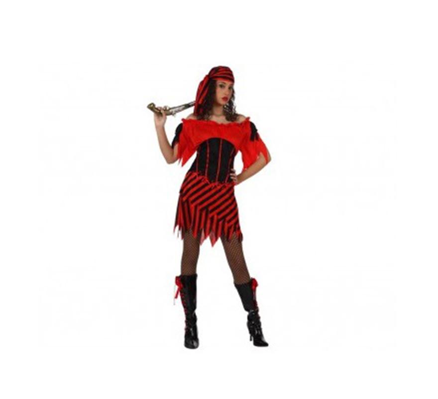 Disfraz de Pirata sexy a rayas para mujer. Talla Standar M-L 38/42. Incluye vestido y pañuelo.